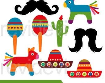 Mexico Cinco de mayo clipart - pinata, sombrero, mustache - digital images, instant download