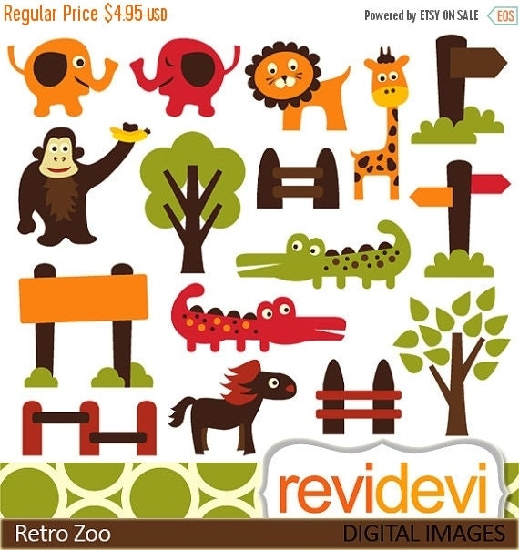 60% OFF SALE Animals clip art - Retro Zoo Clipart.. Commercial use digital graphic clip art