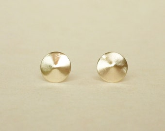 Brass Gold Pointed Circle/Round Stud Earrings 925 Sterling Silver Posts,Bridesmaid Gift,Minimal Jewelry,Everyday Jewelry,Geometric,Simply