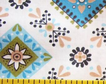 Retro Floral Geo...Cute Vintage 1950s-1960s Mid-Century Print Fabric