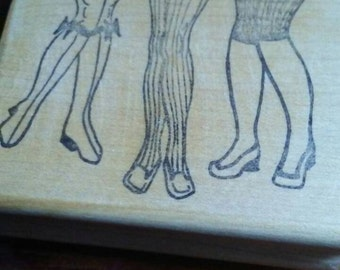 Retro 1950s Inspired Pinup Girl Legs Lingerie Rubber Stamp, Wood Mounted