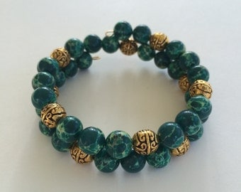 Sediment Jasper bead bracelet - green memory wire gold accent beads