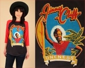ViNtAgE 80's RARE JIMMY CLIFF Oneness TShirt Special Tour '82 Raglan 3/4 Sleeve T-Shirt HiPPiE Reggae OnE LoVe 1982 Large L