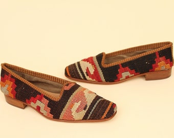 ViNtAgE 70s Kilim Shoes Turkish Flats Stacked Wood Slip on Womens 6
