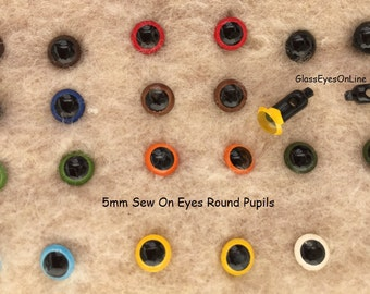 12 Pair 5mm SEW ON Plastic Safety Eyes Choose Color for Dolls, Teddy Bears, Plush Animals, Softies, Sew, Crochet, Needle Felting   (SORP-1)