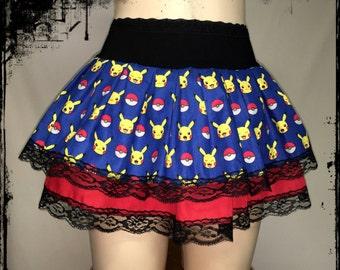 Pikachu Pokemon  Gathered Skirt, Size L-XL - Ready to Ship - Pokemon Go Trainer Poke Ball Comic Con Cosplay Hunting Geek Gamer