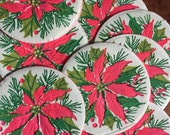 Vintage Kitsch Hot Pink Poinsettias Holiday Christmas Paper Coasters - Set of 13