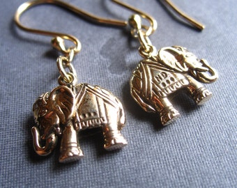 Bronze Elephant Earrings lightweight - dangle - Lucky - simple charms - double sided