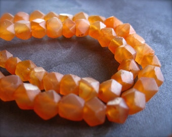 Carnelian Beads Matte Finish Faceted Cube Square center drilled stone - natural 7 1/2 inches