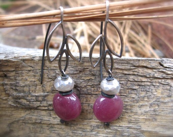 Pink Sapphire Earrings and Diamond Finish Moonstone accents - Sterling Silver