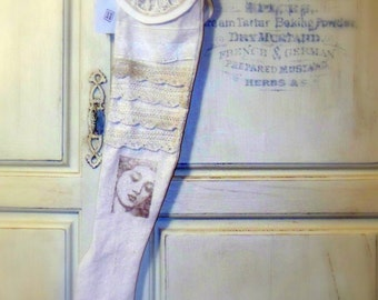 FRIEND Christmas stocking, long narrow, vintage collar, old lace, woman image, muslin