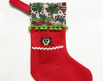 Red Stocking, Christmas Stocking, Pocket Stocking, Baby Bear - Midnight Chimes, Red Stocking