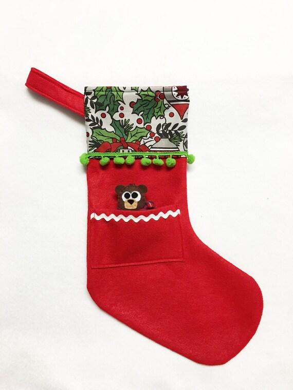 Felt Stocking, Christmas Stocking, Pocket Stocking, Baby Bear - Midnight Chimes, Red Stocking