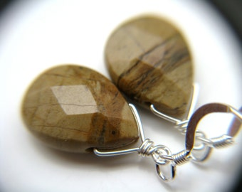 Brown Stone Earrings . Silvermist Jasper Earrings . Simple Drop Earrings . Natural Stone Earrings . Earthy Jewelry - Sands Collection