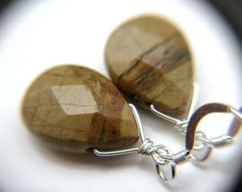 Brown Stone Earrings . Silvermist Jasper Earrings . Simple Drop Earrings . Natural Stone Earrings . Everyday Jewelry - Sands Collection