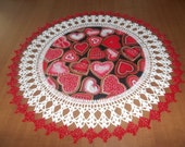 Valentine Hearts Doily Fabric Center Crocheted Edge 18 Inches Centerpiece