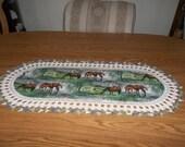 Crochet Table Runner, Horses Colt, Handmade, Fabric Table Runner, Gift, Best Doilies, Lace Edge, Dresser Scarf, Home Decor, Oval Centerpiece