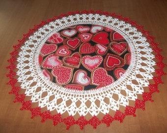 Valentine Hearts Doily Fabric Center Crocheted Edge 18 Inches Centerpiece