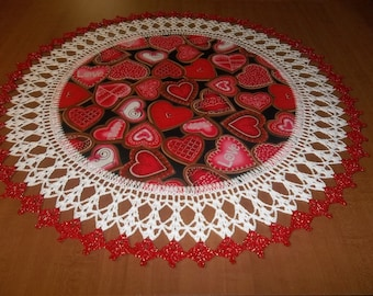 Valentine Red and Pink Hearts Doily Fabric Center Crocheted Edge 20 Inches Centerpiece