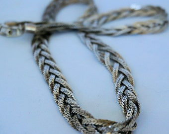 24 Inch Silver Braided Necklace, Silver Chain