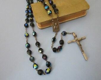 Vintage Glass Bead Rosary black aurora glass bead rosary
