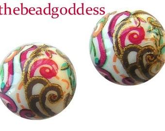 Beautiful JAPANESE TENSHA Beads Pink Aqua Paisley White 12mm Variations 2-5-9