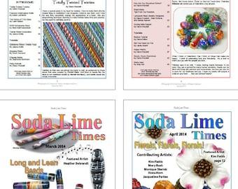 Bundle of Soda Lime Times Lampworking Magazines - Jan 2014 - April 2014