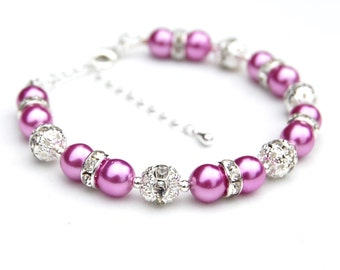 Pink Jewelry, Pink Pearl Rhinestone Bracelet, Bridesmaid Gifts, Pink Bridesmaid, Pink Beaded Bracelet,