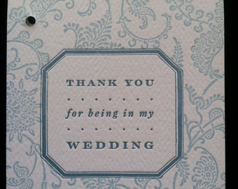 """Wedding party """"thank you"""" letterpress gift tags - 5-pack"""