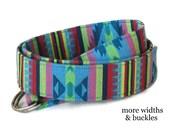 Blue Fabric Belt / Tribal Belt / Green D-ring Belt / Striped Belt / Aqua Belt / Aztec Belt / Native American Wide Belt  XS to Plus Size Belt