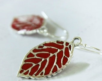 Red Leaf Dangle Earrings, Silver Dangle Earrings, Dangle Drop Earrings, Bridesmaid Gift, Red Dangle Earrings, Gift For Her, Valentines Day