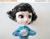 Sale Miniature Hand Knit Crayon Sweater in Sea Monster Blues - Bright Blue, Navy, Acid Green Multicolor Long Sleeved Sweater for Pullip