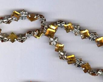 vintage AMBER rose montees 5mm square shape or 7mm on diagonal diamond shape TWENTY FIVE sew ons, prong set faceted crystals rare shape
