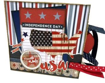4th of July Scrapbook - USA - Photo Album -  Pre-made Paper Bag Scrapbook - Mini Scrapbook