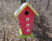 Birdhouse Trapezoid Shape Functional Primitive Lime Green Violet Red Yellow White Knobs