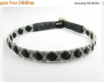 CIJ SALE Black Kyra style Sami Bracelet - Leather Wrap Tin Metal Thread Braided Bracelet with Reindeer Leather and Antler Button Clasp