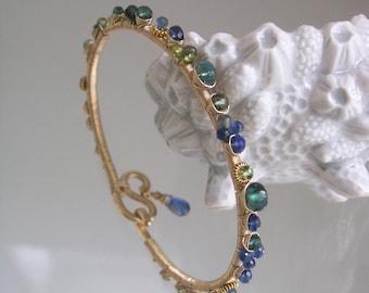 Blue Sapphire Bangle, Gold Filled Wire Wrapped Bracelet, Kyanite, Emerald, Green Apatite, Tourmaline, Original Design, Signature