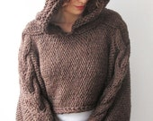 20% WINTER SALE Plus Size Knitting Sweater Brown Capalet with Hoodie - Over Size -  Cable Knit by Afra