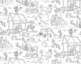 Color Me Building Fun Fabric - Half Yard - Black and White Construction Equipment Boy's Coloring Fabric from Michael Miller DC7003-WHIT-D