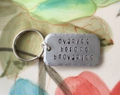 Ovaries before brovaries, Leslie Knope Galentine's Day quote, small dog tag style keychain, feminist jewelry