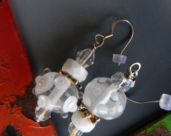 Asymmetrical Clear and White Lampwork Glass Bead Earrings