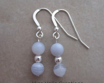 blue lace agate sterling silver earrings