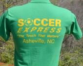80s vintage tee shirt SOCCER asheville north carolina touch green team uniform t-shirt kids XL adult XS Small