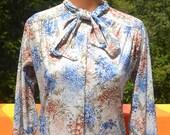 vintage 70s blouse BOW tie collar poly disco secretary women's shirt Medium cape cod match mates preppy