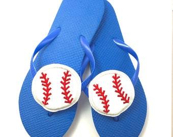 Baseball flip flops - blue sport sandals - baseball mom - team spirit flip flops