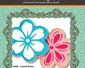 Six Petal Flower Cookie Cutter & Stencil Set - Designer Stencils (TS064)