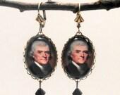 Thomas Jefferson Earrings Patriotic Americana, Be Revolutionary