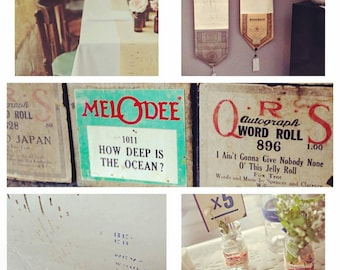 Vintage Player Piano Paper Rolls, Three Boxes of My Choosing, Gift Wrap, Table Runner, Display