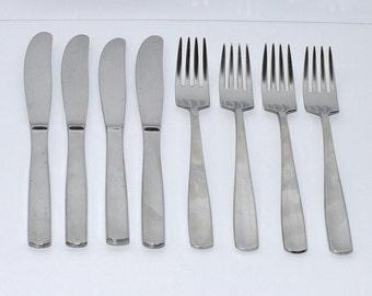 Vintage Gense Facette Stainless Steel Sweden Flatware Set of 8