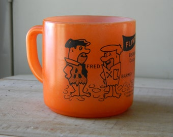 Orange Federal Glass Flintstones mug Bedrock City Custer, South Dakota